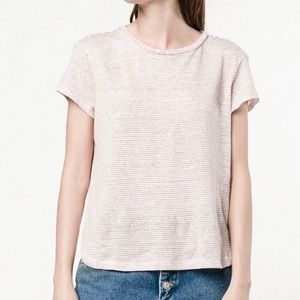 Frame Denim Knitted Berry Micro Striped T Shirt
